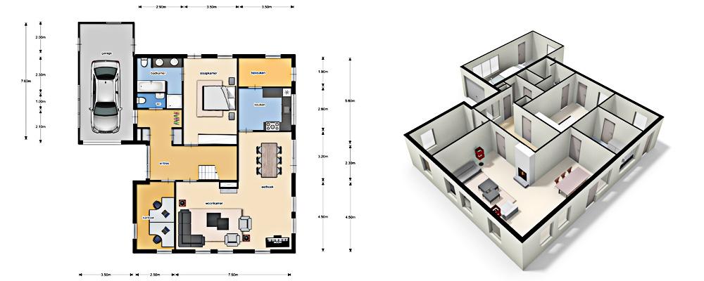Ingekleurde plattegronden for Plattegrond woning