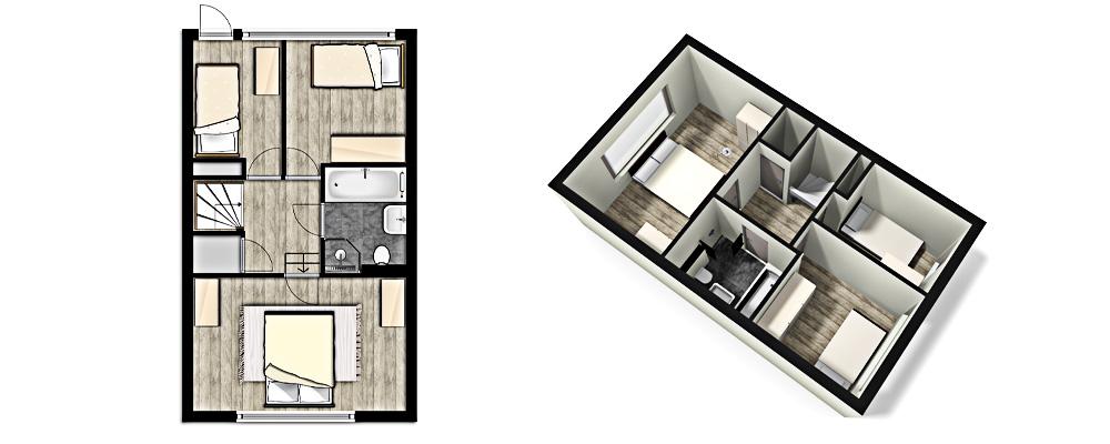 3d plattegrond for Plattegrond woning