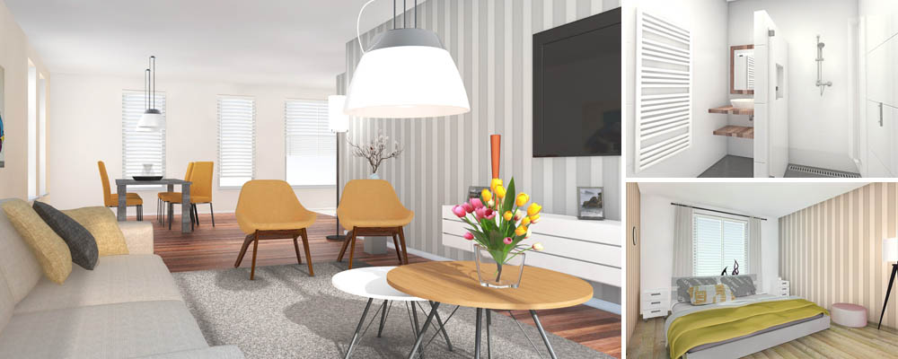 Nieuw interieur met digitale 3d restyling