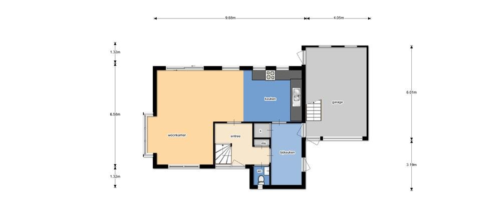Kleuren plattegrond verkoop woning for Plattegrond woning