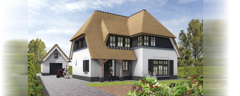 Architectuur impressie vrijstaande villa met rieten kap for Prijzen nieuwbouw vrijstaande woning
