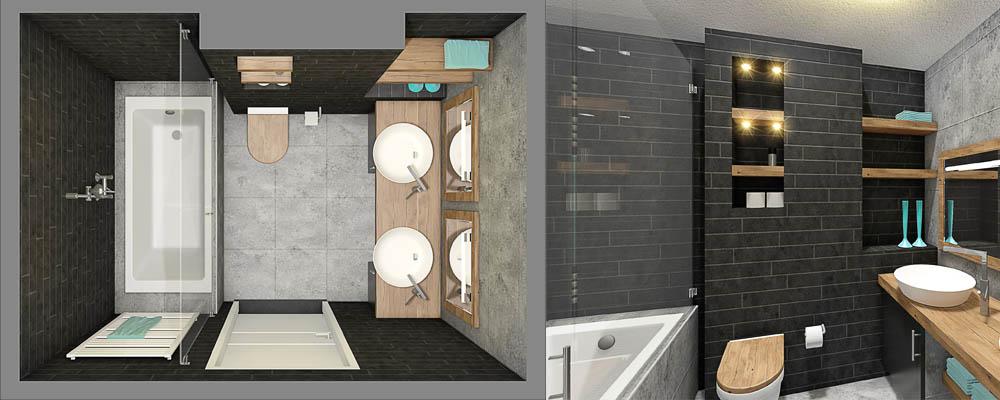 3d plattegrond badkamer grijs en hout