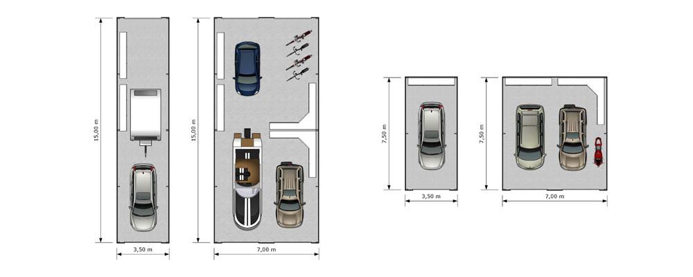 Impressie garage box for 2d plattegrond maken